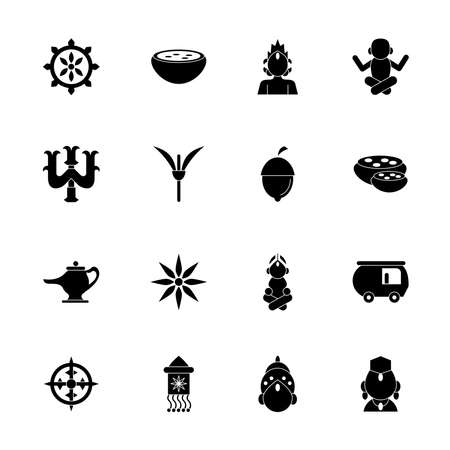 sixteen navratri set silhouette style icons vector illustration design