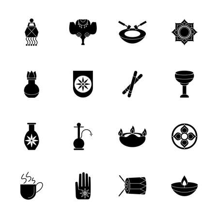 sixteen navratri set style silhouette icons vector illustration design Illustration