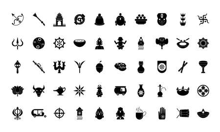 fifty navratri set silhouette style icons vector illustration design