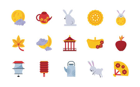 fifteen chinese moon festival set icons vector illustration design