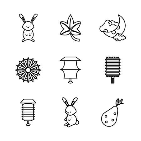 nine chinese moon festival set icons vector illustration design Ilustração