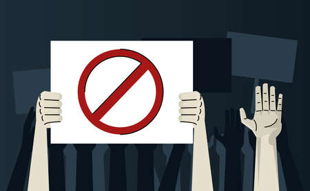 hands human protesting lifting banner stop signal vector illustration design