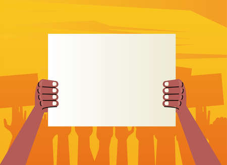 afro hands human protesting lifting banner empty vector illustration design