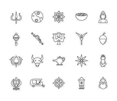 twenty navratri set style line icons vector illustration design