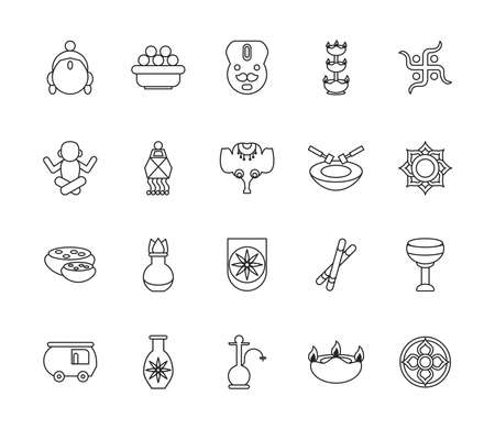 twenty navratri set line style icons vector illustration design