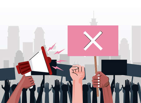interracial people hands protesting lifting banner with x and megaphone on the city vector illustration design