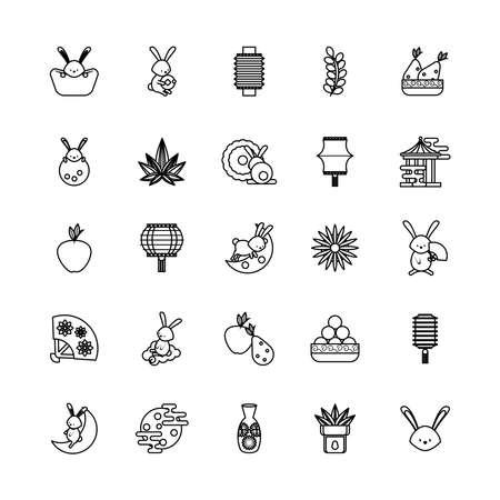 twenty five chinese moon festival set items vector illustration design Ilustração Vetorial