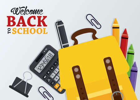 back to school poster with schoolbag and supplies vector illustration design Illustration