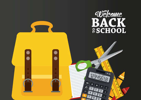 back to school poster with schoolbag and items vector illustration design Illustration