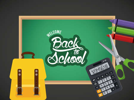 back to school poster with chalkboard and crayons vector illustration design Illustration