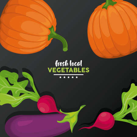local fresh vegetables lettering with black background vector illustration design Illustration