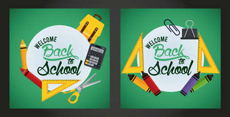 back to school poster with chalkboards and set supplies scenes vector illustration design