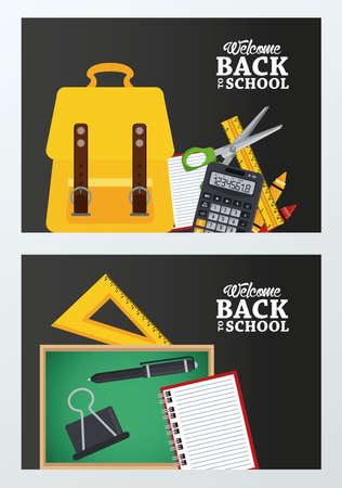 back to school poster with chalkboard and schoolbag set supplies vector illustration design Illustration