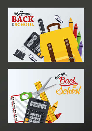 back to school poster with set supplies frames vector illustration design