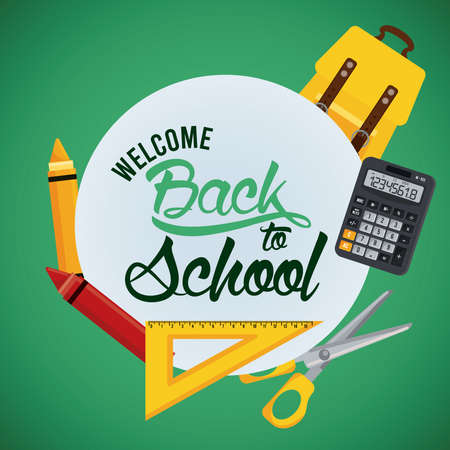 back to school poster with schoolbag and supplies circular frame vector illustration design