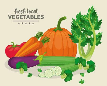 local fresh vegetables lettering in background beige vector illustration design