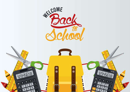 back to school poster with schoolbag and elements vector illustration design Illustration