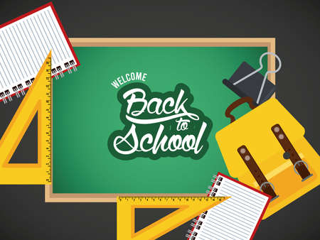 back to school poster with chalkboard and schoolbag vector illustration design