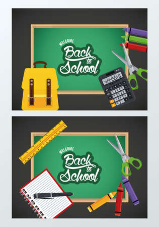 back to school poster with chalkboards and supplies vector illustration design Illustration