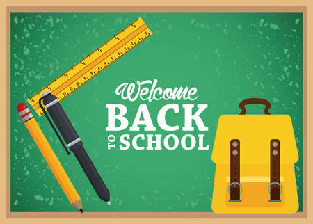 back to school poster with schoolbag and supplies in chalkboard vector illustration design Illustration