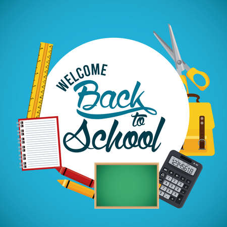 back to school poster with chalkboard and supplies circular frame vector illustration design Illustration
