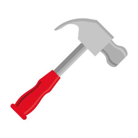 hammer tool flat style icon vector illustration design