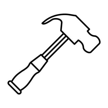 hammer tool line style icon vector illustration design