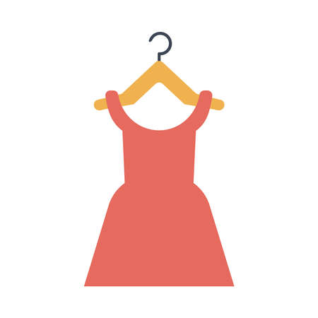 female dress in clothespin flat style icon vector illustration design