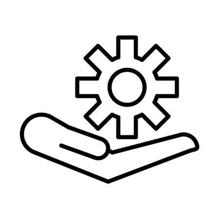 hand lifting gear settings machine line style icon vector illustration design Vector Illustration