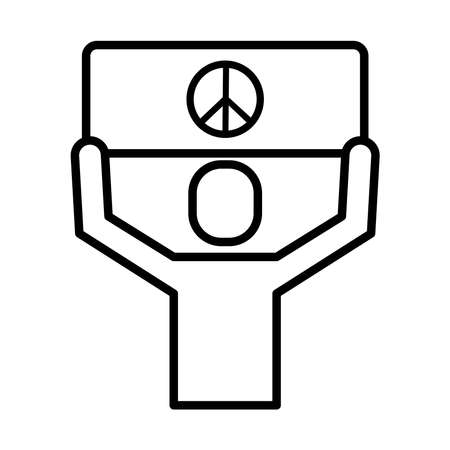 man protesting with banner peace and love sign line style icon vector illustration design