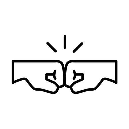 handshake fists protesting line style icon vector illustration design