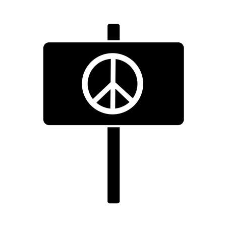 protest banner with peace and love sign silhouette style icon vector illustration design