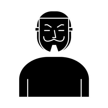 man with Salvador Dali mask silhouette style icon vector illustration design