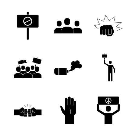 bundle of nine protest set icons vector illustration design