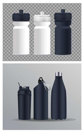thermoplastics water bottles branding icons vector illustration design