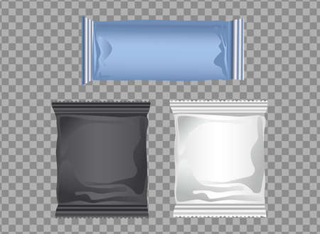 set colors packings bags products icons vector illustration design