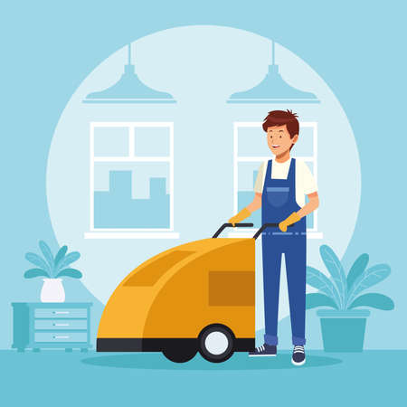 housekeeping male worker with toilet trolley vector illustration design