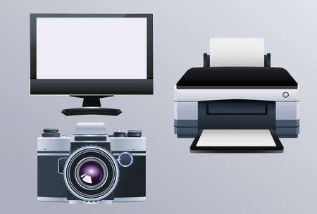 printer hardware machine with monitor and camera vector illustration design