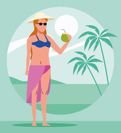 young woman wearing swimsuit drinking coconut cocktail vector illustration design  イラスト・ベクター素材