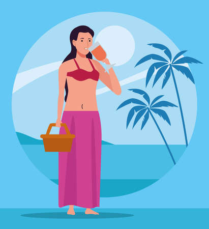 young woman wearing swimsuit drinking cocktail character vector illustration design