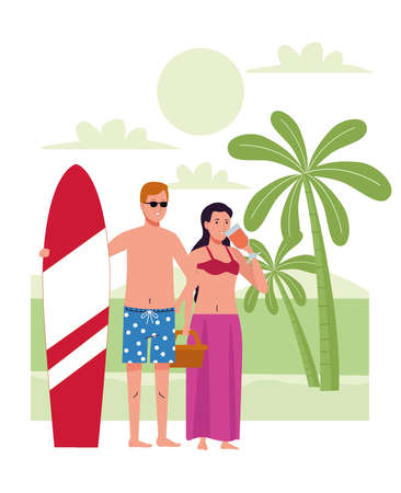 young couple wearing swimsuits with cocktail and surfboard on the beach vector illustration  イラスト・ベクター素材