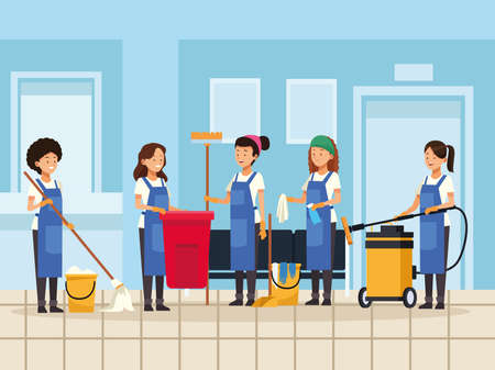 housekeeping team workers with equipment tools characters vector illustration design