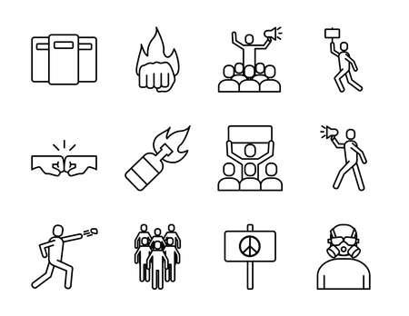 bundle of twelve protest set icons vector illustration design Vecteurs