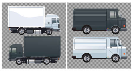 trucks and vans black and white colors branding mockup vector illustration design