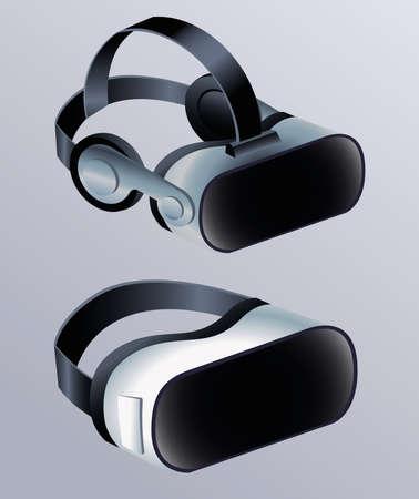 two virtual reality masks accessories with gray background vector illustration design Vektoros illusztráció