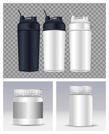 thermoplastics water bottles branding icons vector illustration design