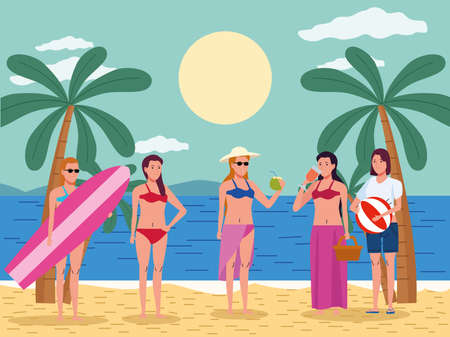 young women wearing swimsuit on the beach characters illustration design