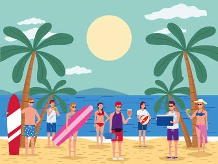 young people wearing swimsuits on the beach scene vector illustration design