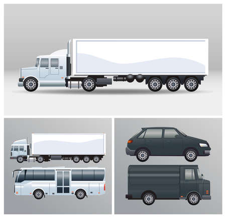 bus and trucks with vehicles mockup style vector illustration design