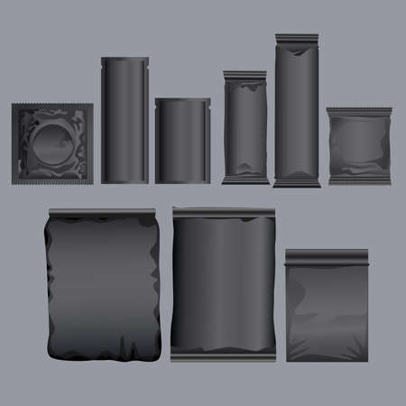black packing products set icons vector illustration design